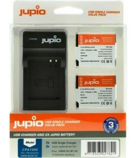JUPIO 2 PILES DMW-BCM13E PANASONIC + KIT CHARGEUR USB 1150MAH (CPA1000)