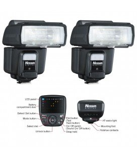 NISSIN KIT2 I60 CANON 2 FLASHES + TRANSMISOR AIR 1