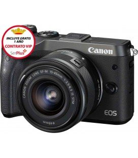 CANON EOS M6 KIT + EF-M 15-45mm F3.5-6.3 IS STM - NEGRA + GRATIS 1 AÑO MANTENIMIENTO VIP SERPLUS CANON