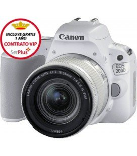CANON EOS 200D BLANCO + 18-55 IS STM + GRATIS 1 AÑO MANTENIMIENTO VIP SERPLUS CANON