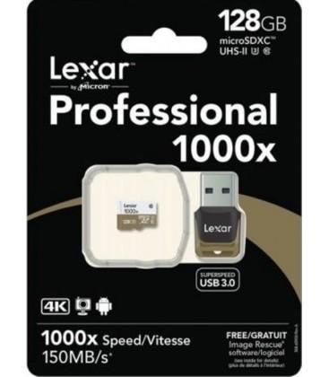 LEXAR TARJETA MICRO SDXC 128 GB 150M/S UHS-II 1000x  + USB 3.0