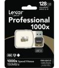 LEXAR TARJETA MICRO SDXC 128 GB 150M/S UHS-II 1000x + ADAPTADOR USB 3.0